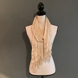 Women's cream and silver scarf